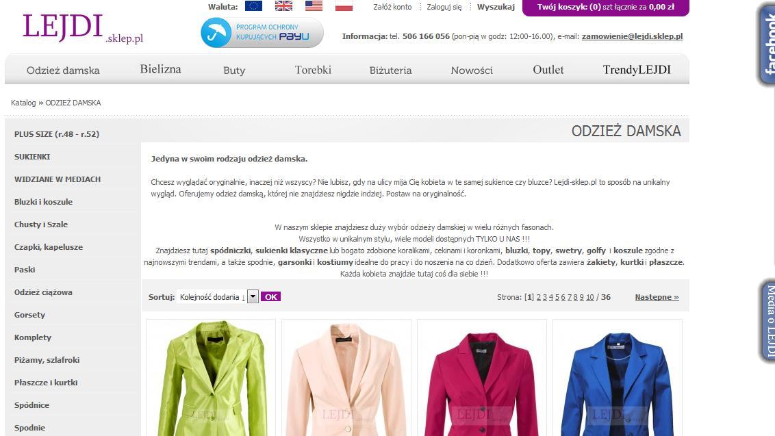 Sklep internetowy - odzież damska