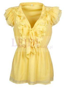 Żółta tunika, żółte tuniki - falbankowy biust optycznie powiększa biust, tunika powiększająca biust