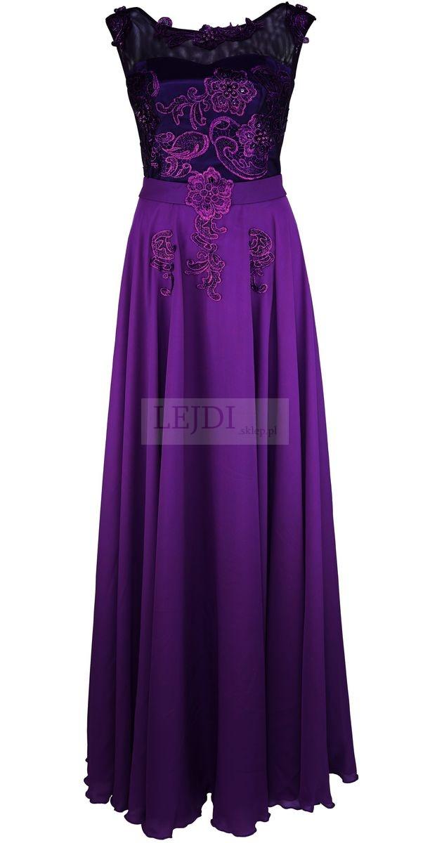 Długa suknia z perełkami dla Matki Panny Młodej, suknie dla Matki Pana Młodego