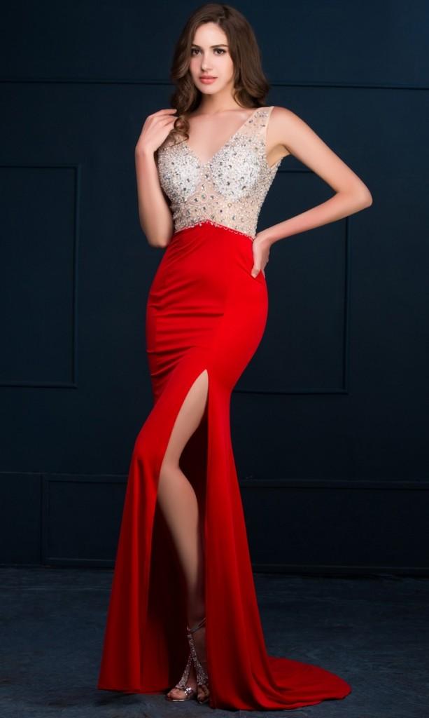 kusząca suknia wieczorowa , czerwona suknia wieczorowa