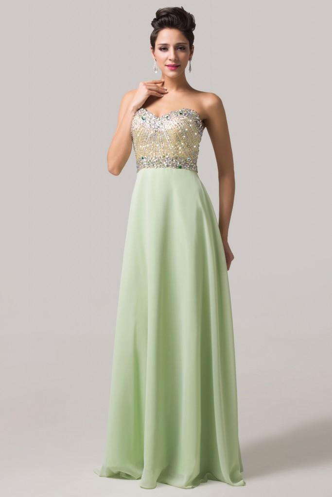 Romatyczna suknia z cekinowym gorsem. Suknia długa w kolorze pastelowo zielonym. Suknia na wesele, studniówkę, sylwestra.