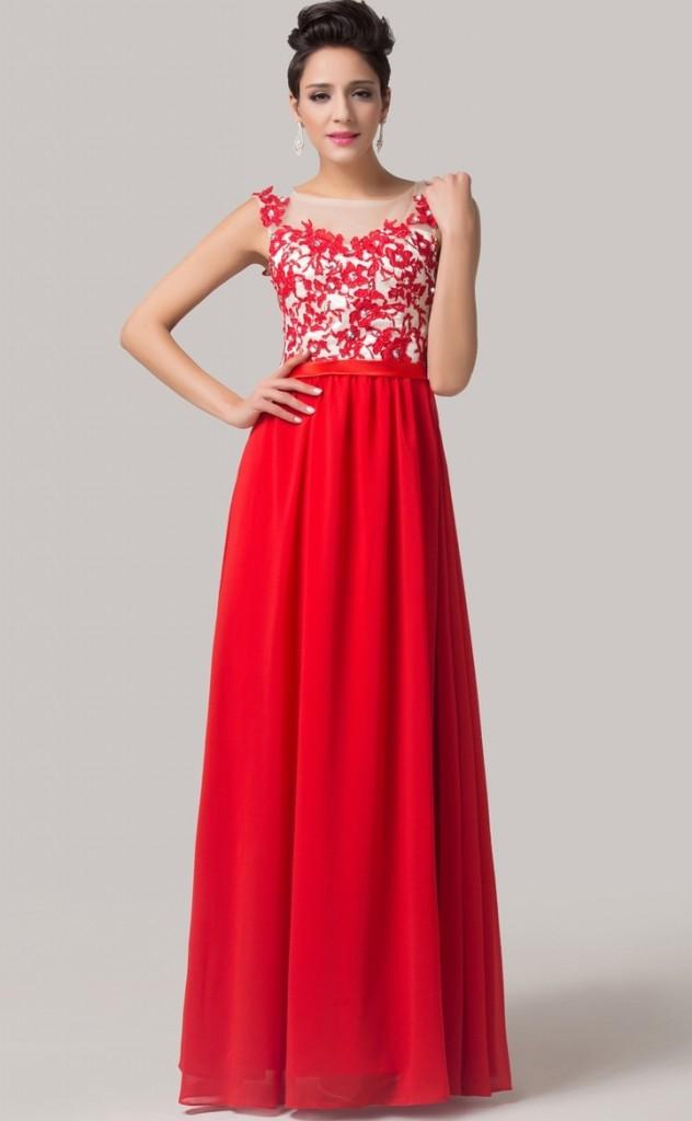 czerwona suknia z gipiurą, czerwone sukienki,suknia czerwona