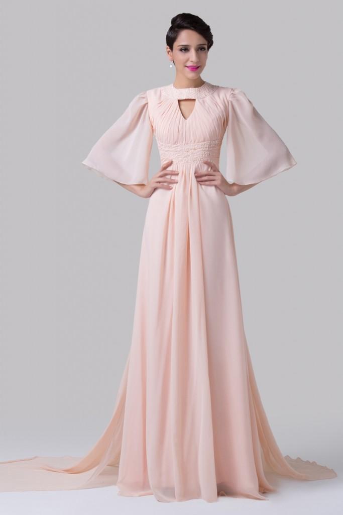 Szyfonowa suknia w stylu retro. SUknia z koralikami i cekinami. Suknia długa na sylwestra, na wesele.