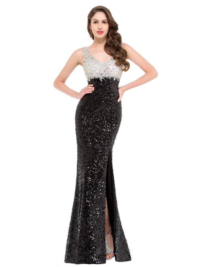 Cekinowa suknia. Suknia czarno biała. Suknia sylwestrowa, sukienka na studniówkę.