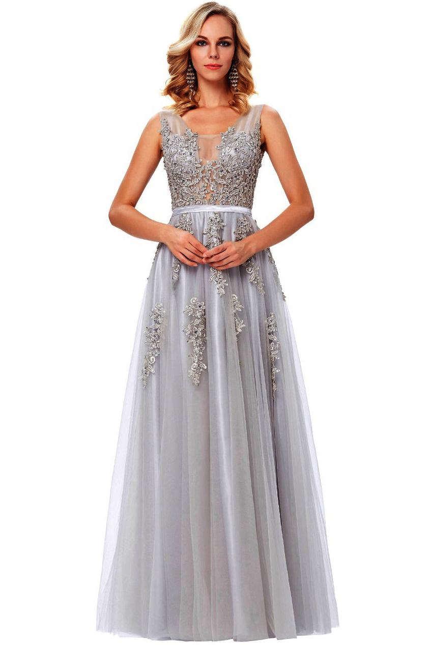 Szara sukienka na studniówkę