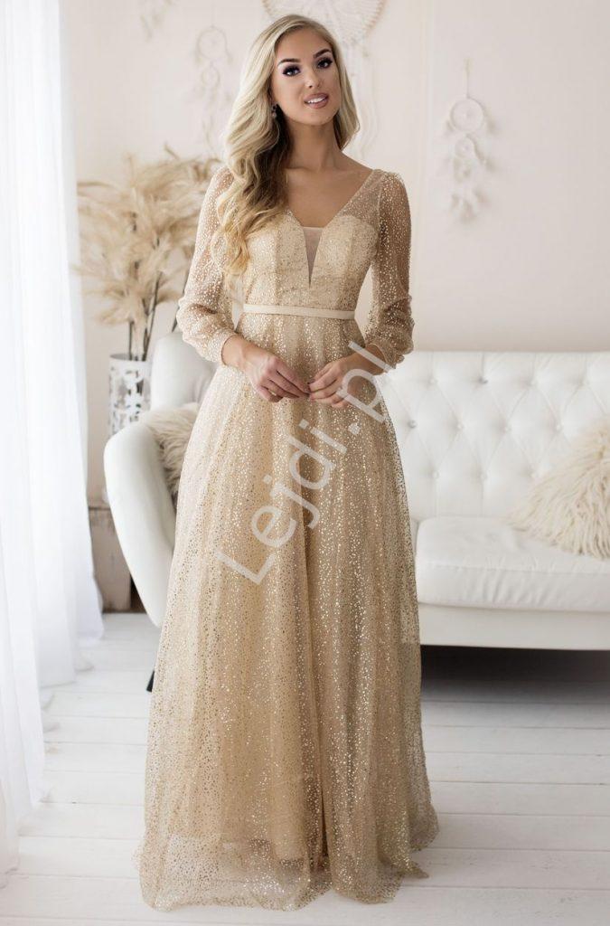 Brokatowa suknia wieczorowa z długim rękawem