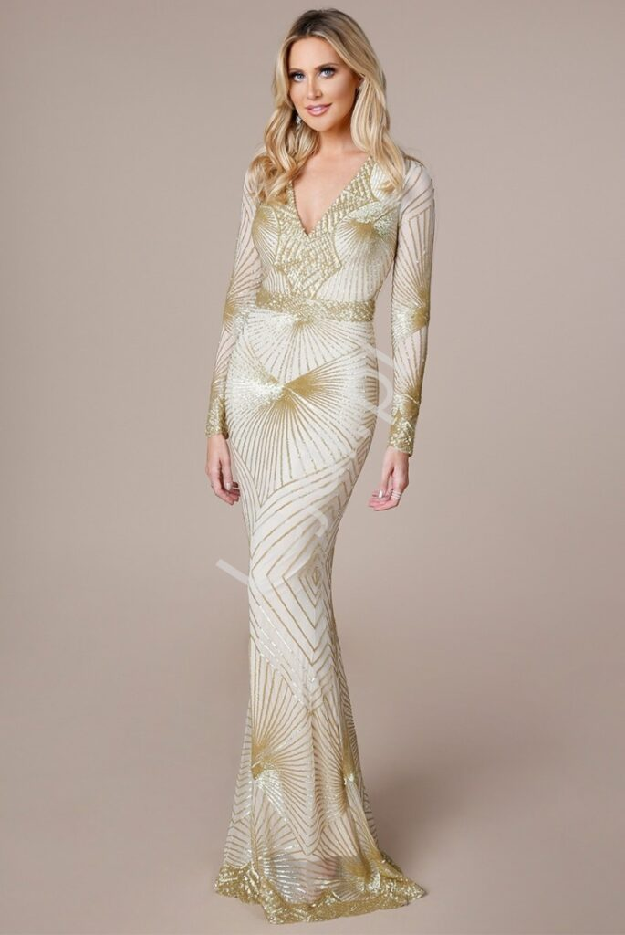 Długa złota sukienka z wzorami