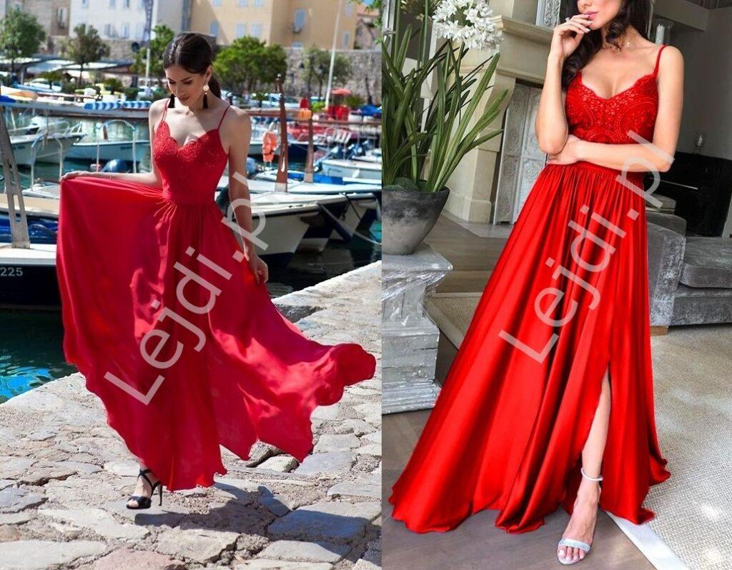 Długa czerwona suknia wieczorowa