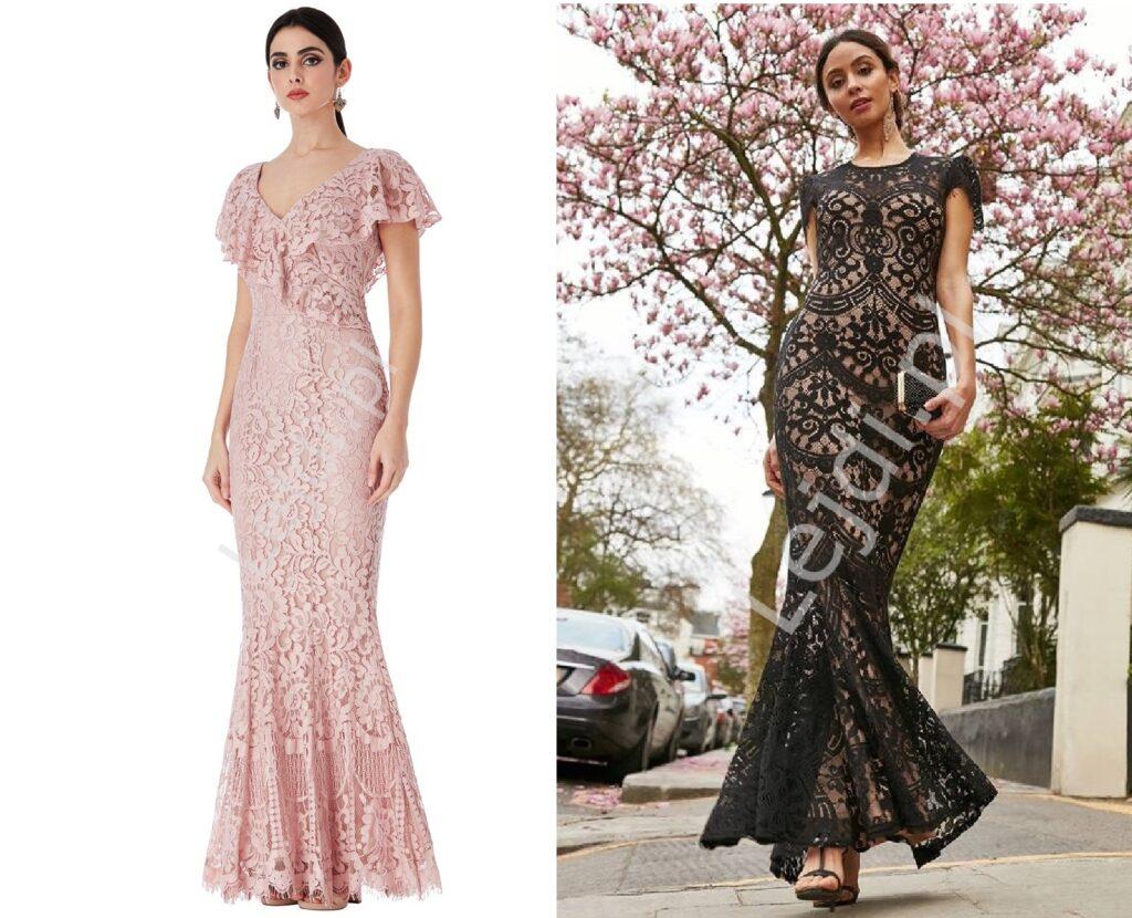 Długa suknia na wesele z koronki