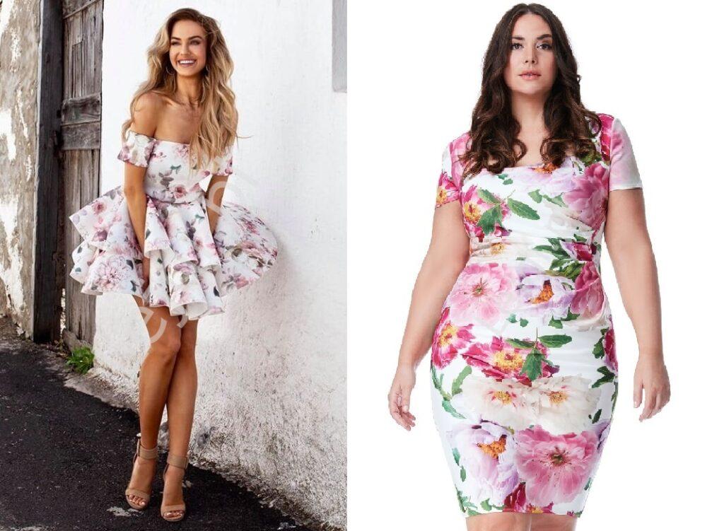 Ołówkowa sukienka w kwiaty i z falbanami