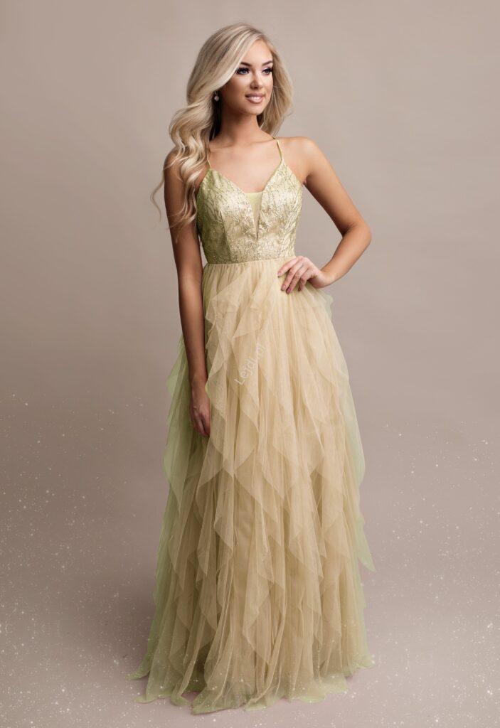 Warstwowa złota sukienka
