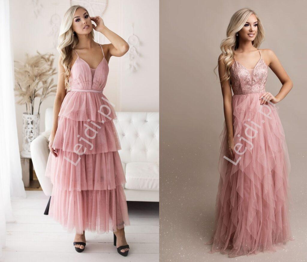 Sukienki warstwowe z falbanami, strzępieniami.