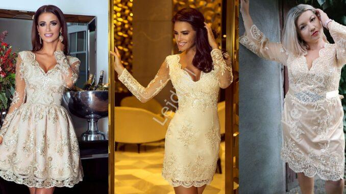 Złote, beżowe sukienki z koronki na wesele