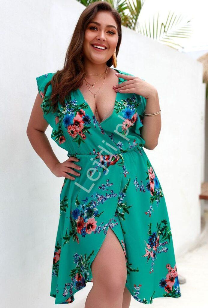 Zielona sukienka w kwiaty, duże rozmiary