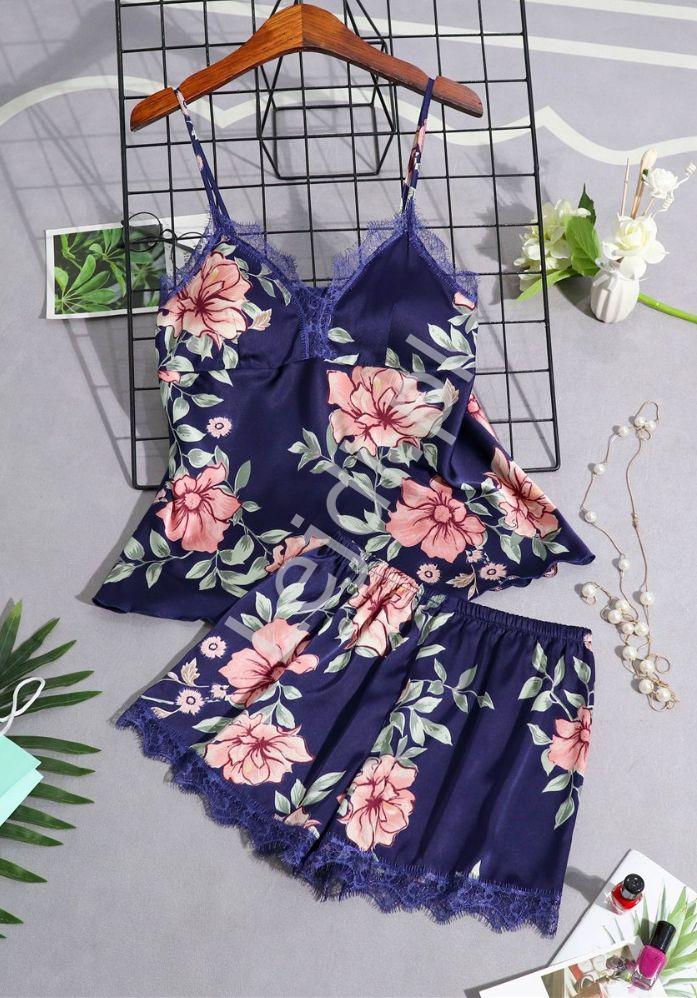 Satynowa piżama damska w kwiaty