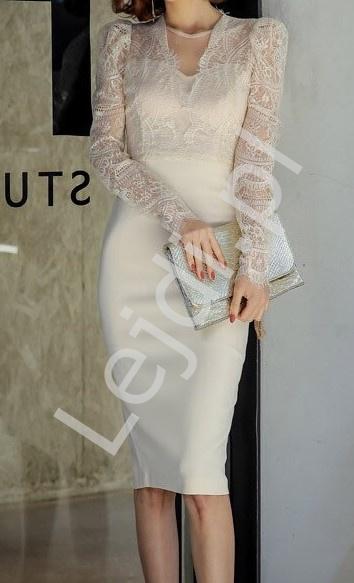 Biała midi sukienka