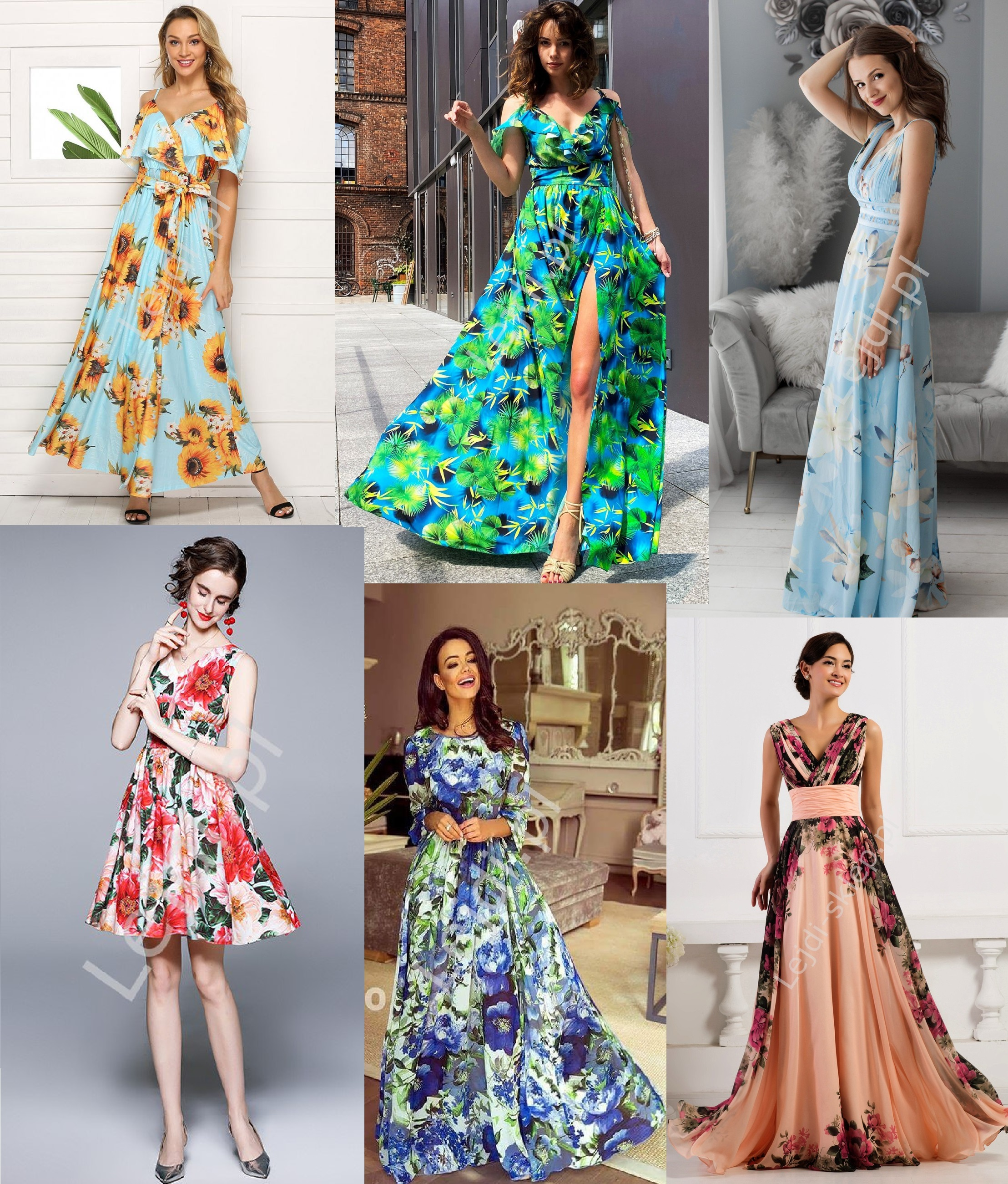 Niebieskie sukienki w kwiaty
