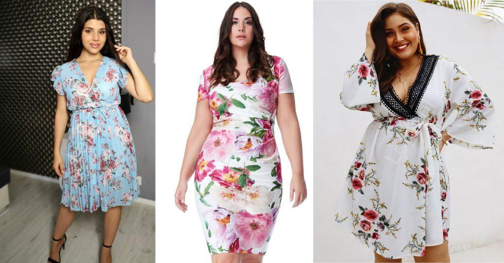 Sukienki w kwiaty tuszujące brzuch