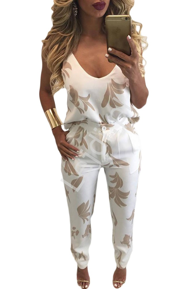 2 częściowy elegancki komplet z nadrukiem , spodnie + bluzka - Lejdi