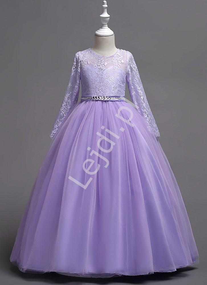 Balowa suknia dziecięca dla dziewczynki w kolorze jasnego fioletu 023 - Lejdi