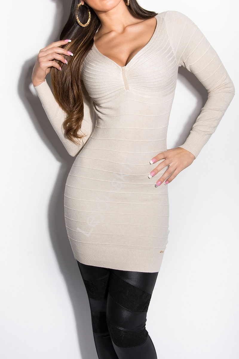Bandażowa dzianinowa sukienka / tunika, kremowa | wełniane sukienki 149 - Lejdi