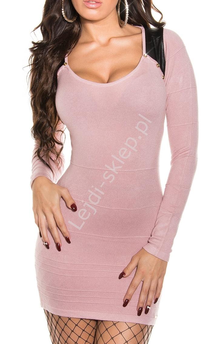 Bandażowa jasno różowa sukienka ze wstawkami imitującymi skórkę, 30% wełna + 26% sztuzcny jedwab 8123 - Lejdi