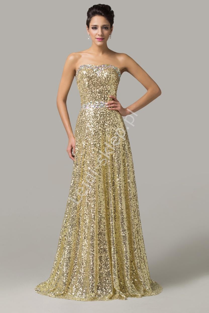 Bardzo efektowna sylwestrowa, karnawałowa, estradowa złota suknia z kryształkami - Lejdi