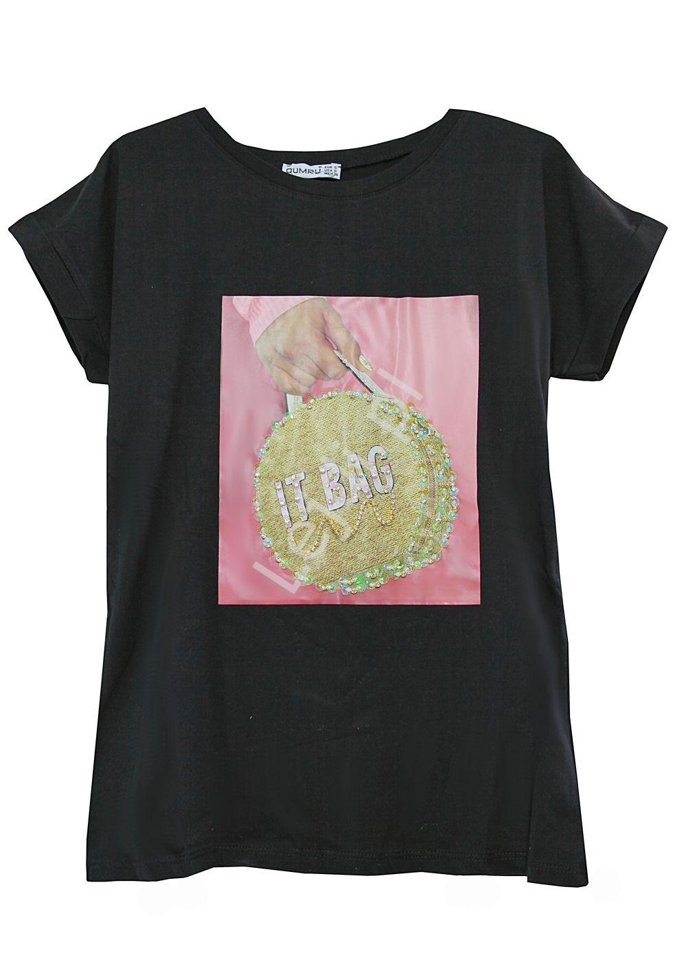 Bawełniana koszulka damska z zdobiona torebką- It Bag - Lejdi