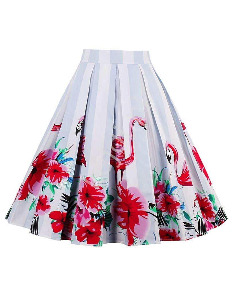 Bawełniana spódnica w kwiaty i flamingi