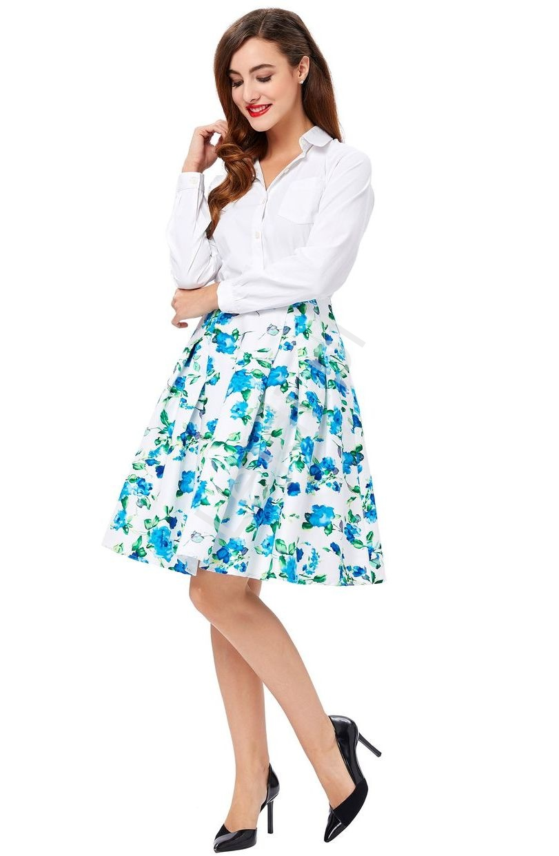 Bawełniana spódnica w niebieskie kwiaty rozkloszowana pin-up - Lejdi