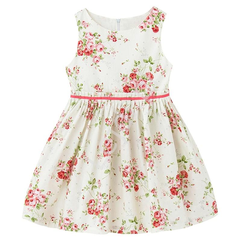 Bawełniana sukienka dla dziewczynki z pięknym kwiatowym wzorem - Lejdi