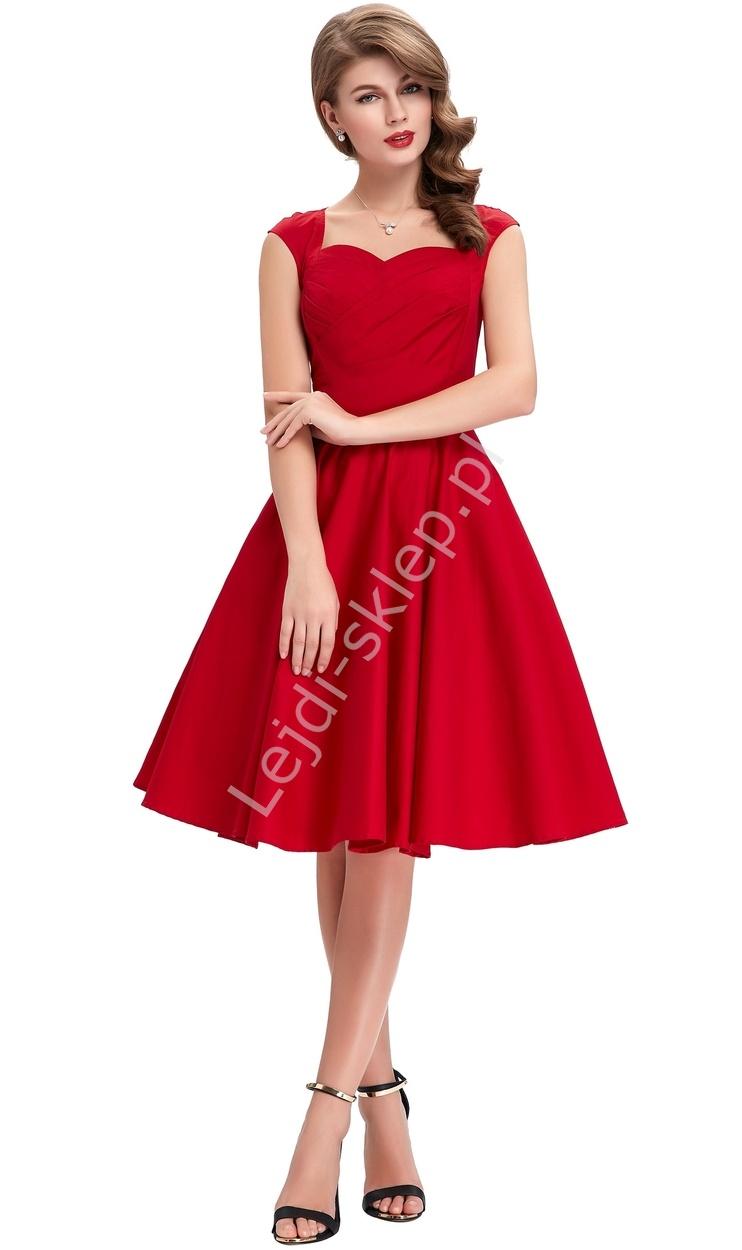 Bawełniana sukienka pin-up czerwona, swingdress - Lejdi