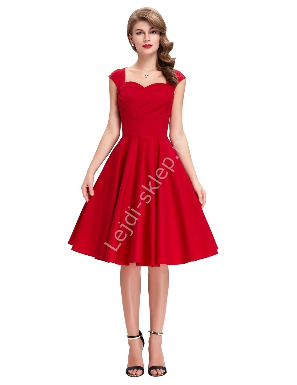 ad244b9eb3 Bawełniana sukienka pin-up czerwona