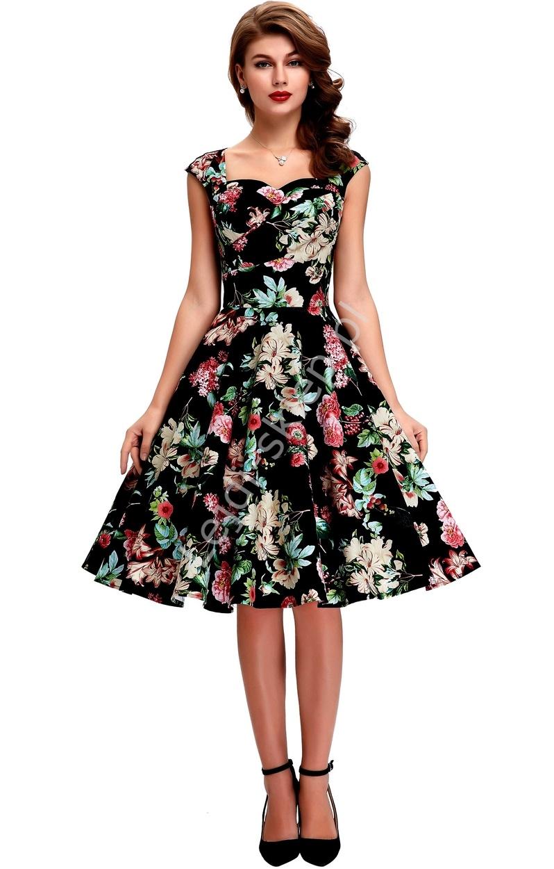Bawełniana sukienka pin-up czarna w kolorowe kwiaty, swingdress - Lejdi