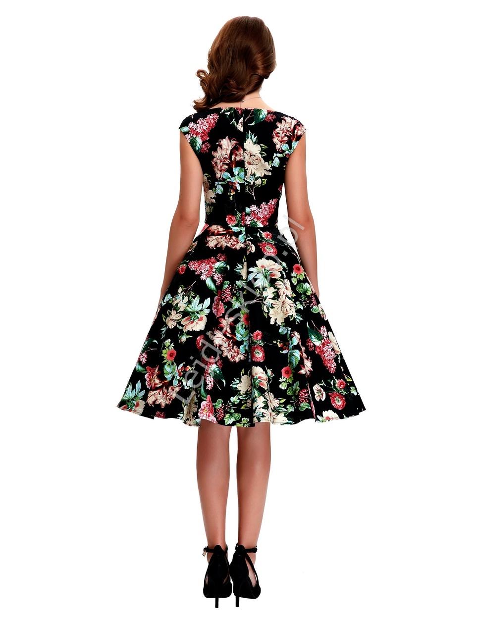 79b990fc26 Sukienka pin-up czarna w kolorowe kwiaty r.36 - r.48