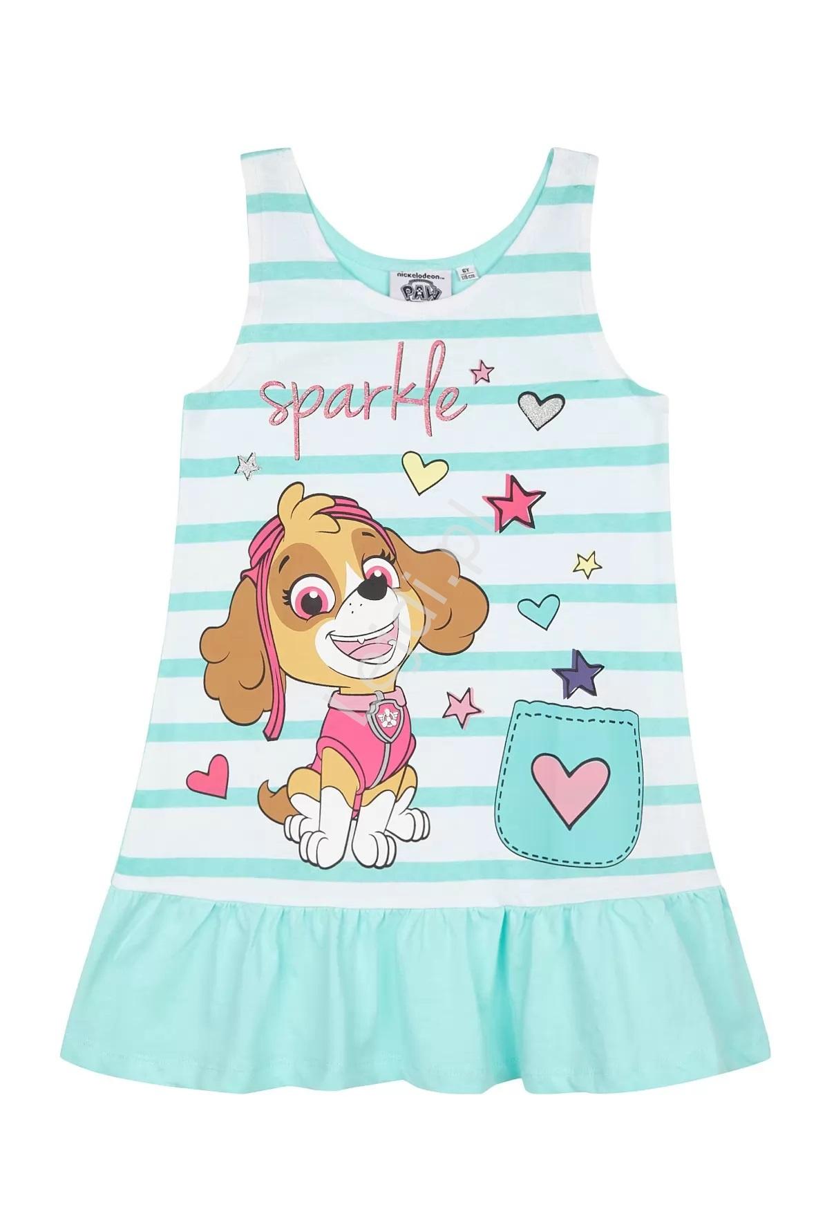 Bawełniana sukienka Psi Patrol ze Sky, letnia sukienka dla dziewczynki - Lejdi
