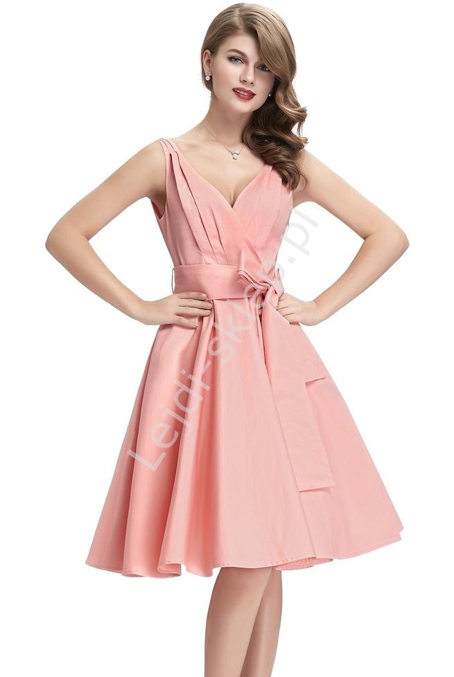Bawełniana sukienka w stylu vintage | sukienka lata 60-te 8955 - Lejdi