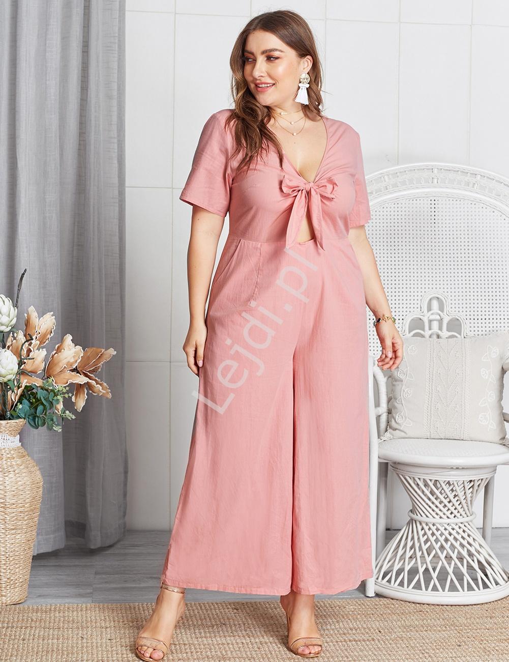 94533a92254dd1 Bawełniany kombinezon letni Plus Size, pudrowy róż - Lejdi.pl