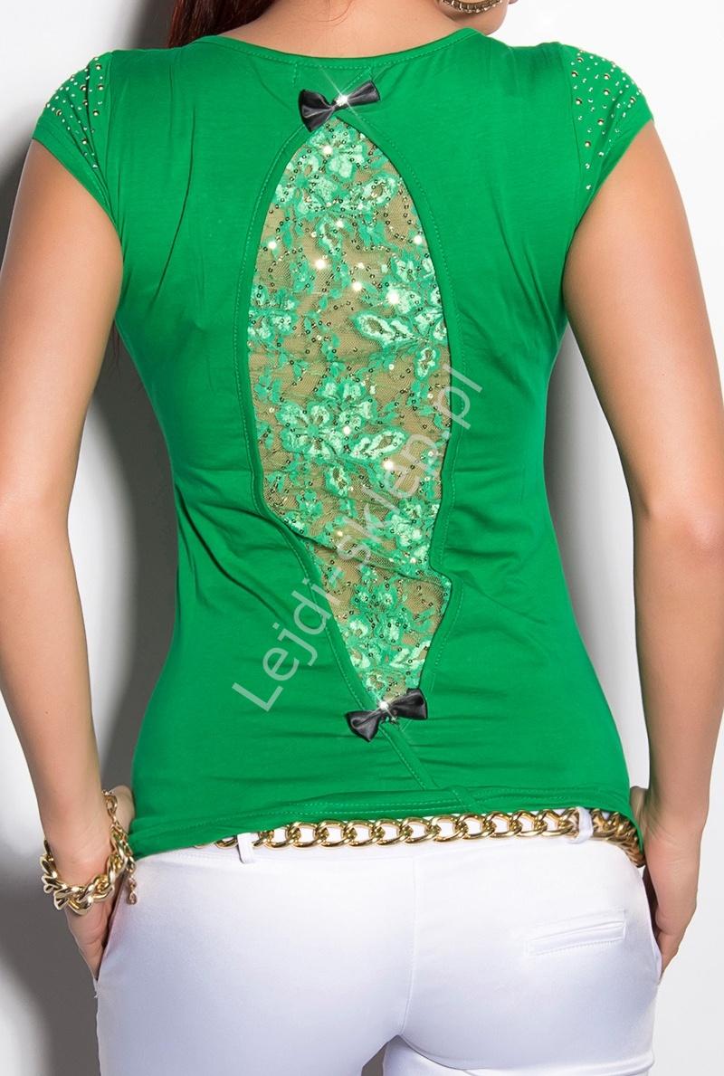 Bawełniany zielony t-shirt z cekinami i cyrkoniami na ramionach - Lejdi