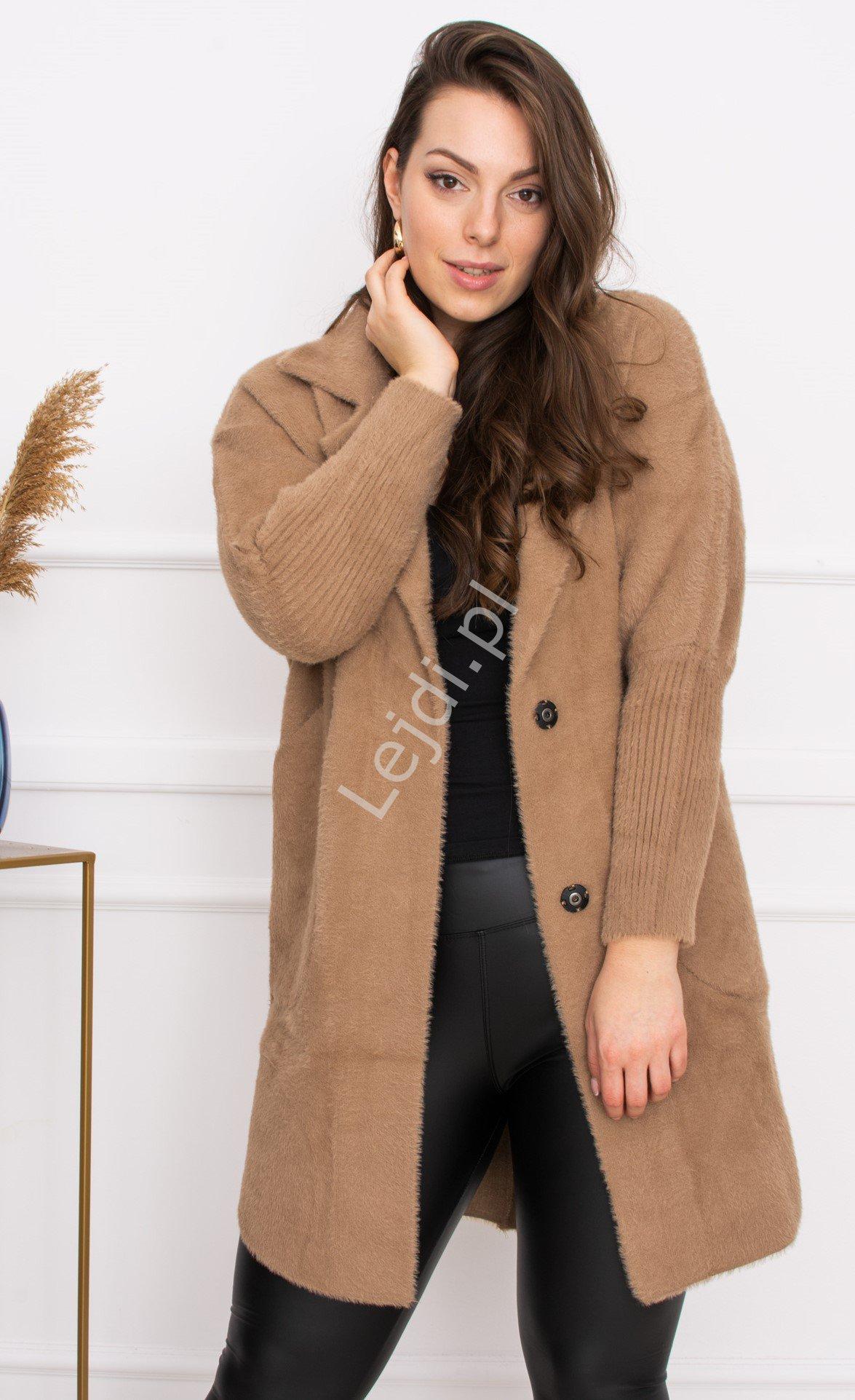 Beżowa Alpaka z kieszeniami, ciepły płaszcz Alpaka - Lejdi