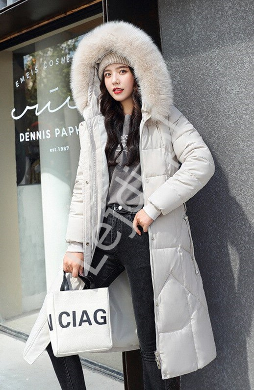 Beżowa długa kurtka zimowa, pikowany płaszcz zimowy 9777 - Lejdi