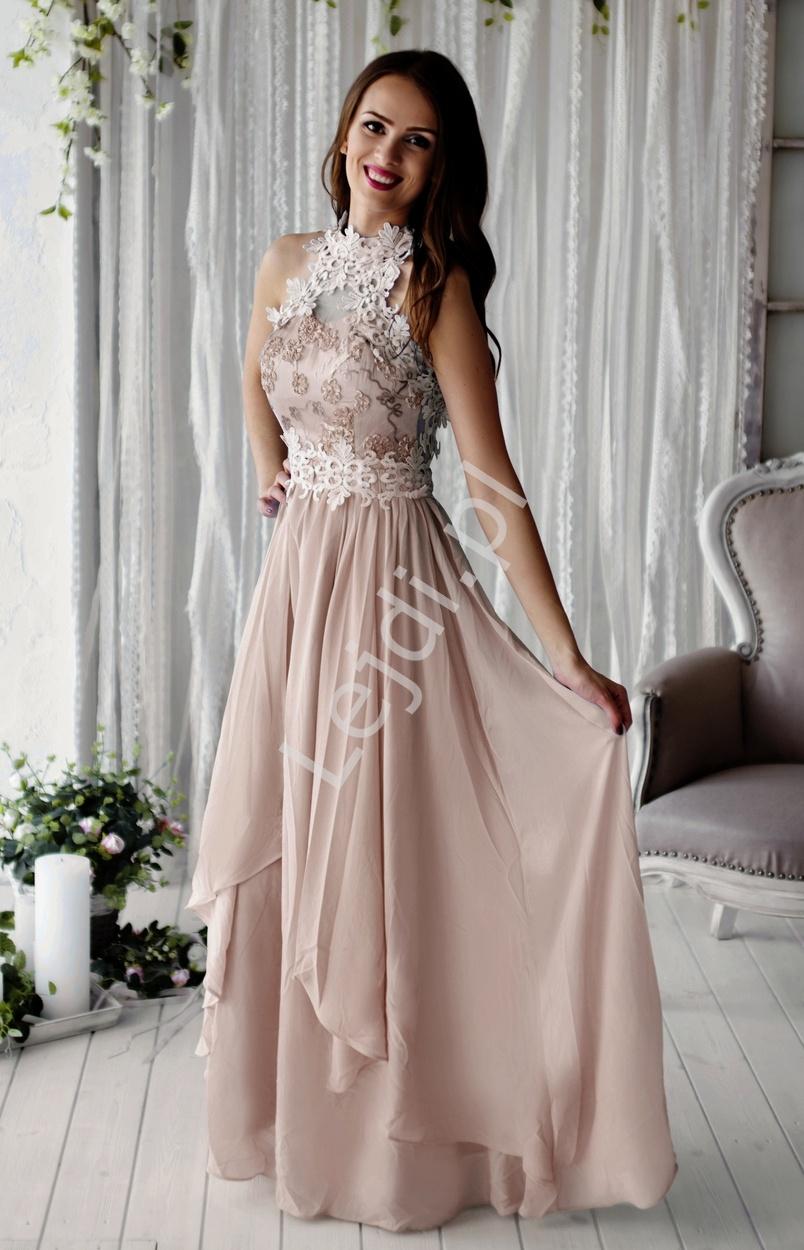 Beżowa długa suknia wieczorowa z kwiatami 3D | beżowe długie sukienki wieczorowe - Lejdi