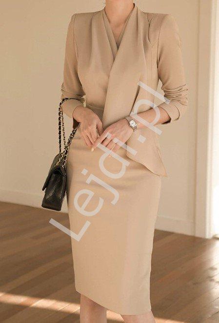 Beżowa elegancka sukienka ołówkowa 6889 - Lejdi