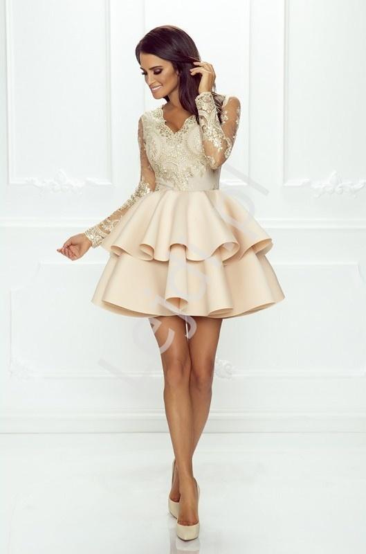 Wyjątkowy Beżowa krótka rozkloszowana sukienka z falbaną | Sukienka  AD-86