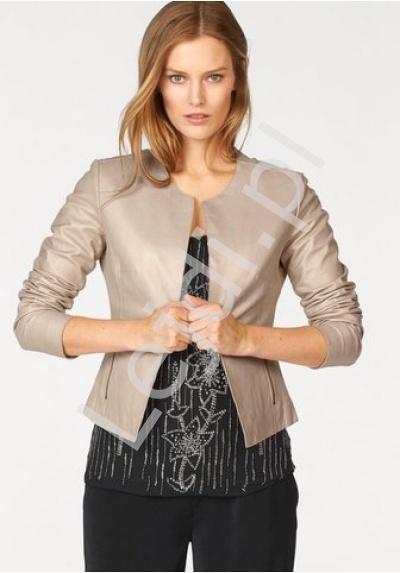 Skórzana kurtka z złotym połyskiem, 100% skóra jagnięca