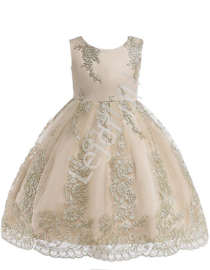 Beżowa sukienka dla dziewczynki ze złotym haftem na tiulu - Lejdi