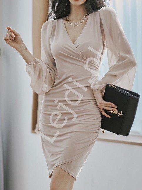 Beżowa sukienka dopasowana z szyfonowym długim rękawem 2498 - Lejdi