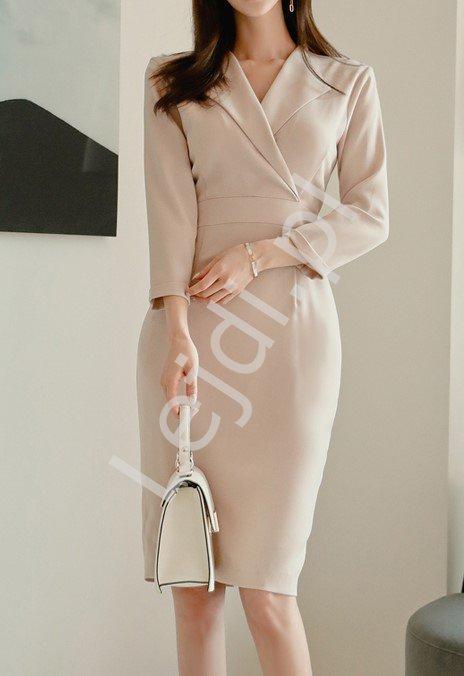 Beżowa sukienka elegancka o ołówkowym kroju 0305 - Lejdi