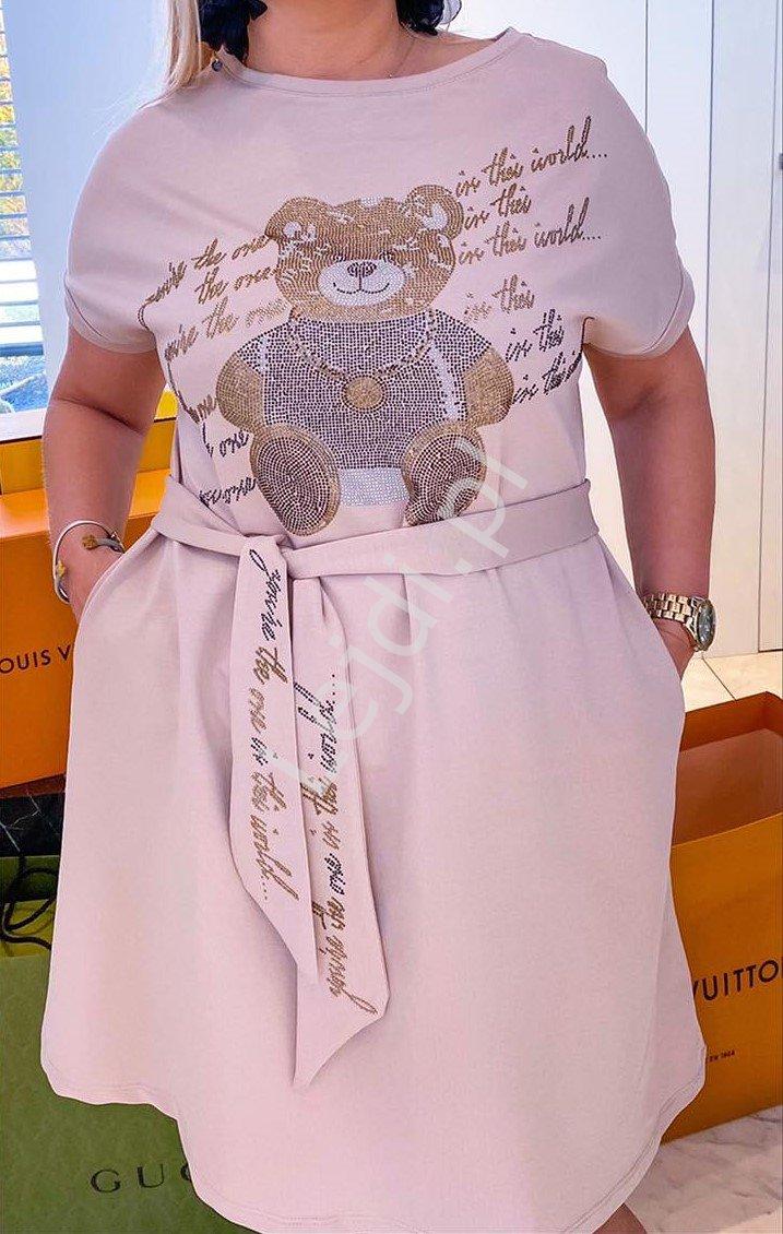 Beżowa sukienka letnia z kryształkowym misiem 535 - Lejdi