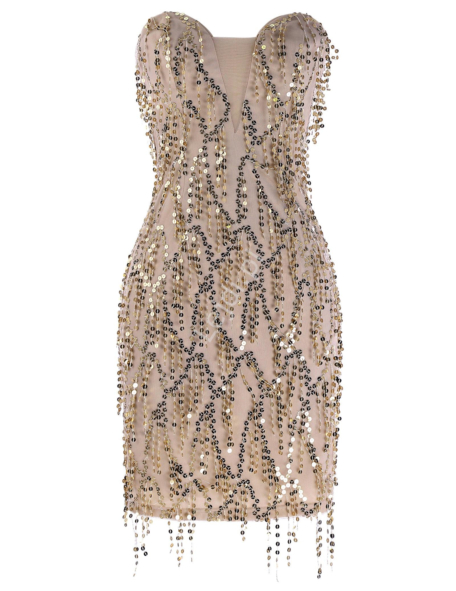 Beżowa sukienka wieczorowa z cekinami | sukienka na sylwestra - Lejdi